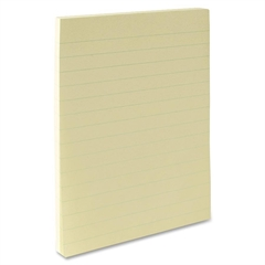 "Ruled Adhesive Note - 100 - 4"" x 6"" - Rectangle - Ruled - Yellow - Solvent-free Adhesive, Self-adhesive - 12 / Pack"