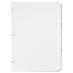 "3-Ring Plain Tab Divider - 8 Tab(s) - Write-on - 8.50"" Divider Width x 11"" Divider Length - Letter - 3 Hole Punched - White - White - 800 / Box"