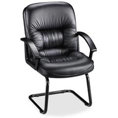 Lorell Tufted Leather Executive Guest Chair - Leather Black Seat - Black Frame - Cantilever Base - Black