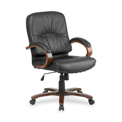 """Lorell Woodbridge Managerial Mid-Back Chair - Leather Black Seat - Leather - 26.5"""" Width x 28.8"""" Depth x 42.3"""" Height"""