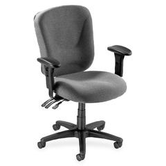 Lorell Accord Mid-Back Task Chair - Polyester Gray Seat - Black Frame