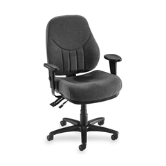 "Lorell Baily High-Back Multi-Task Chair - Acrylic Gray Seat - Black Frame - 26.9"" Width x 28"" Depth x 44"" Height"
