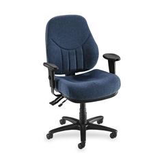 "Baily High-Back Multi-Task Chair - Acrylic Blue Seat - Black Frame - 26.9"" Width x 28"" Depth x 44"" Height"