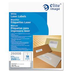 "Elite Image Mailing Laser Label - Permanent Adhesive - 1.33"" Width x 4"" Length - Rectangle - Laser - White - 3500 / Pack"