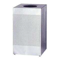 "Designer Line Silhouette Open Top Receptacle - 16 gal Capacity - Square - 8.50"" Opening Diameter - 30"" Height x 14.8"" Width x 14.8"" Depth - Steel - Stainless Steel"