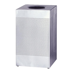 "Designer Line Silhouette Open Top Receptacle - 29 gal Capacity - Square - 8.50"" Opening Diameter - 30"" Height x 18.8"" Width x 18.8"" Depth - Steel - Stainless Steel"
