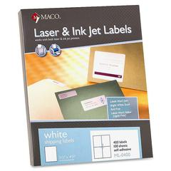 "White Laser/Ink Jet Shipping Label - 5.50"" Width x 4.25"" Length - 4 / Sheet - Rectangle - Laser, Inkjet - White - 400 / Box"