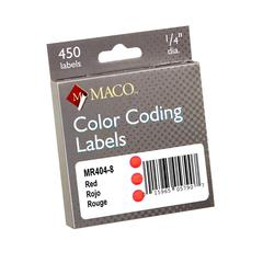 "Maco 1/4"" Permanent Adhesive Color Coding Labels - Permanent Adhesive - 0.25"" Diameter - Circle - Red - 450 / Box"