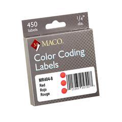 "Maco Color Coding Label - Permanent Adhesive - 0.25"" Diameter - Circle - Red - 450 / Box"