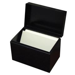 Buddy Hinged Cover Card File Box - Steel - 1 Each - Black