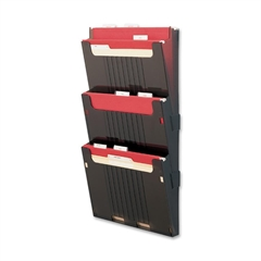 "Hanging Wall File Folder System - 3 Pocket(s) - 25"" Height x 12.6"" Width x 3.9"" Depth - Wall Mountable - Smoke - 3 / Set"
