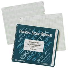 "Ekonomik Check Register - 8.75"" x 10"" Sheet Size - White Sheet(s) - Green Print Color - Recycled - 1 Each"