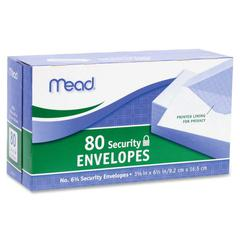 "Mead Security Envelope - Security - #6 3/4 - 6.50"" Width x 3.63"" Length - 20 lb - Gummed - Wove - 80 / Box - White"