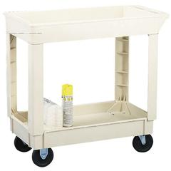 "Continental Two Shelf Utility Cart - 2 Shelf - 400 lb Capacity - 4 Casters - 17.5"" Width x 33"" Depth x 34.4"" Height - Beige"