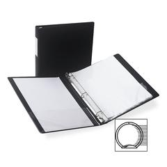 "Samsill Antimicrobial Locking Round Ring Binder - 1/2"" Binder Capacity - Letter - 8 1/2"" x 11"" Sheet Size - 3 x Round Ring Fastener(s) - 2 Internal Pocket(s) - Black - Recycled - 1 Each"