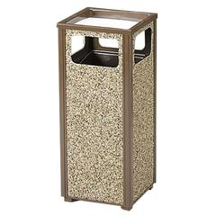 "Rubbermaid Commercial 12 Gal. Sand Urn Receptacles - 12 gal Capacity - Rectangular - 32"" Height x 13.5"" Width x 13.5"" Depth - Steel - Brown"