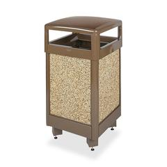 "Litter Hinged-Top Receptacle - Square - 40"" Height x 21"" Width x 21"" Depth - Steel - Brown"