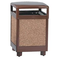 "Rubbermaid Commercial Hinge Top Litter Receptacle - 38 gal Capacity - Square - 40"" Height x 26"" Width x 26"" Depth - Steel - Brown"