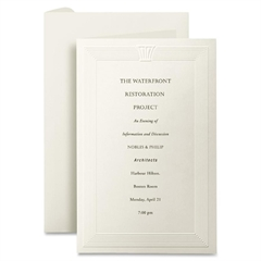 "First Base Overtures Embossed Invitation Card - For Laser Print - Letter - 8.50"" x 11"" - 47 lb Basis Weight - Recycled - 30% Recycled Content - 250 / Pack - Ivory"