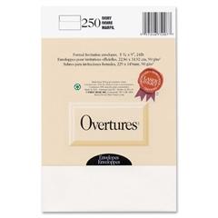 "First Base Overtures Embossed Invitation Envelope - Stationery - 5.88"" x 9"" - 24 lb - 250 / Box - Ivory"