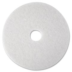 "3M White Polish Floor Pad 4100 - 16"" Diameter - 5/Carton - Polyester Fiber - White"