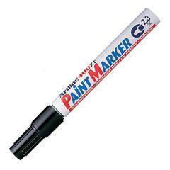 Bullet Tip Paint Marker - 2.3 mm Point Size - Bullet Point Style - Black - Aluminum Barrel - 1 Each