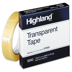 "Highland Transparent Tape - 0.75"" Width x 72 yd Length - 3"" Core - Acrylic - Transparent, Glossy - 1 / Roll - Clear"