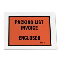 "3M Full Print Packing List Envelopes - Packing List - 4.50"" Width x 5.50"" Length - Self-sealing - Polyethylene - 100 / Box - Orange"