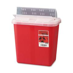 "Sharp Container with Drop Lid - 2 gal Capacity - 12.8"" Height x 10.5"" Width x 7.3"" Depth - Red"