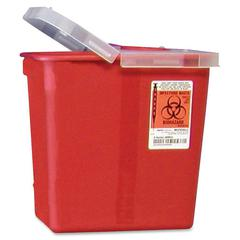 "Covidien Kendall Sharps Containers w/ Hinged Lid - 2 gal Capacity - 10"" Height x 10.5"" Width x 7.3"" Depth - Red"