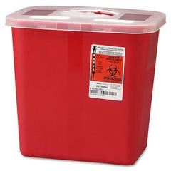 "Covidien Sharps 2 Gallon Container w/ Rotor Lid - 2 gal Capacity - 10"" Height x 10.5"" Width x 7.3"" Depth - Red"