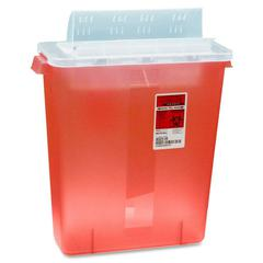 "Covidien Transparent Red Sharps Container - 3 gal Capacity - 16.3"" Height x 13.8"" Width x 6"" Depth - Red"
