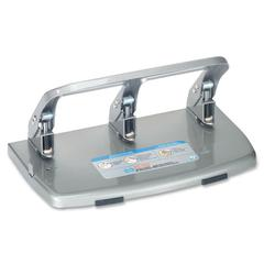 "CARL HC-340 Medium-Duty Hole Punch - 3 Punch Head(s) - 40 Sheet Capacity - 9/32"" Punch Size - Silver"