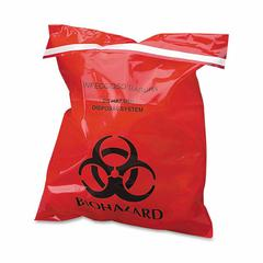 "CareTek Stick-On Biohzrd Infectious Red Waste Bags - 9"" Width x 10"" Length - 2 mil (51 Micron) Thickness - 100/Box - Red"