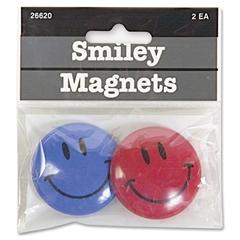 """Baumgartens Smiley Face Magnet - 1.50"""" Diameter - 2 / Pack - Assorted"""