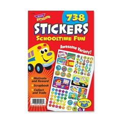 "Trend Schooltime Fun Sticker Pad - Self-adhesive - 9.50"" Height x 5.75"" Width - 738 / Pad"