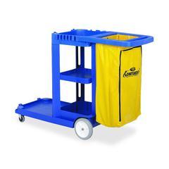 "Janitorial Cart - 8"", 3"" Caster Size - Plastic, Vinyl - 38"" Length x 55"" Width x 30"" Depth x 38"" Height - Blue"