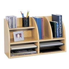 "8-Compartment Desktop Organizer - 8 Compartment(s) - 15.5"" Height x 26"" Width x 9.8"" Depth - Desktop - Medium Oak - Wood - 1Each"