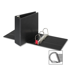 "Sparco EasyOpen Locking Slant-D Ring Binders - 4"" Binder Capacity - Letter - 8 1/2"" x 11"" Sheet Size - D-Ring Fastener - Inside Front & Back Pocket(s) - Polypropylene - Black - 1 Each"
