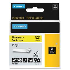 "Dymo Colored Industrial Rhino Vinyl Labels - 0.75"" Width x 18.04 ft Length - Rectangle - Black, Yellow - Vinyl - 1 Each"