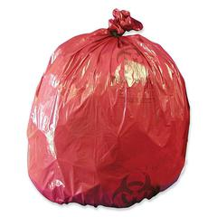 """Medegen MHMS Red Biohazard Infectious Waste Liners - 10 gal - 24"""" Width x 24"""" Length x 1.20 mil (30 Micron) Thickness - Red - 50/Box"""