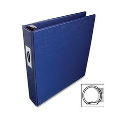 "Wilson Jones Locking Round Ring Binder - 1.50"" Binder Capacity - Letter - 8.50"" x 11"" Sheet Size - 3 x Round Ring Fastener(s) - 2 Internal Pocket(s) - Vinyl - Dark Blue - Recycled - 1 Each"