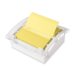 "Designer Pop-up Note Dispenser - 3"" x 3"" - Holds 50 Sheet of Note - Clear, White"
