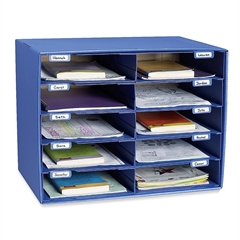 "Classroom Keepers Classroom Mailbox - 10 Compartment(s) - Compartment Size 3"" x 12.50"" x 10"" - Wall Mountable - Recycled - Blue - 1Each"