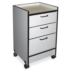 "Hausmann 3-Drawer Mobile Cart - 3 Drawer - 180 lb Capacity - 4 Casters - 2.50"" Caster Size - 18.5"" Width x 18.5"" Depth x 30"" Height - Gray"