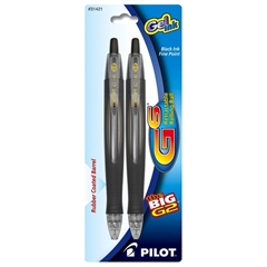 Pilot G6 Gel Pen - Fine Point Type - 0.7 mm Point Size - Refillable - Black Gel-based Ink - Rubber Barrel - 2 / Pack
