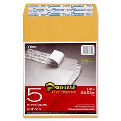 "Mead Press It-Seal-It Envelopes - Catalog - 9"" Width x 12"" Length - Kraft - 5 / Pack - Kraft"
