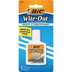 BIC Wite-Out Quick Dry Correction Fluid - Foam Brush Applicator - 0.68 fl oz - White - 1 / Pack