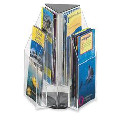 "Reveal Pamphlet Triangle Tabletop Display - 6 Compartment(s) - Compartment Size 7.25"" x 4.25"" x 1"" - 12.5"" Height x 9.5"" Width x 9.5"" Depth - Desktop - Clear - Acrylic - 1Each"