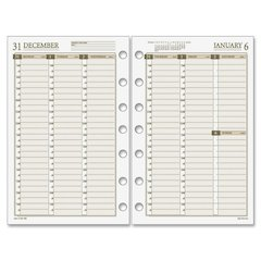 "Day Runner PRO Vertical Planner Refill - Julian - Weekly - 1 Year - January 2017 till December 2017 - 1 Week Double Page Layout - 5.50"" x 8.50"" - 7-ring - Binder - Cream, White - Paper - Tabbed"
